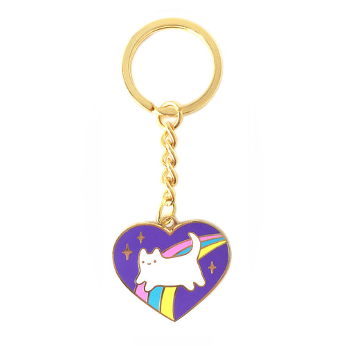 purple heart shaped keyring keychain cosmic kitten rainbow illsutration