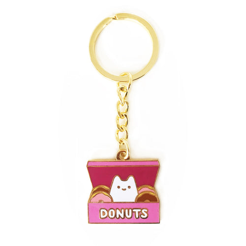 pink kawaii donut box with cat inside enamel keyring keychain