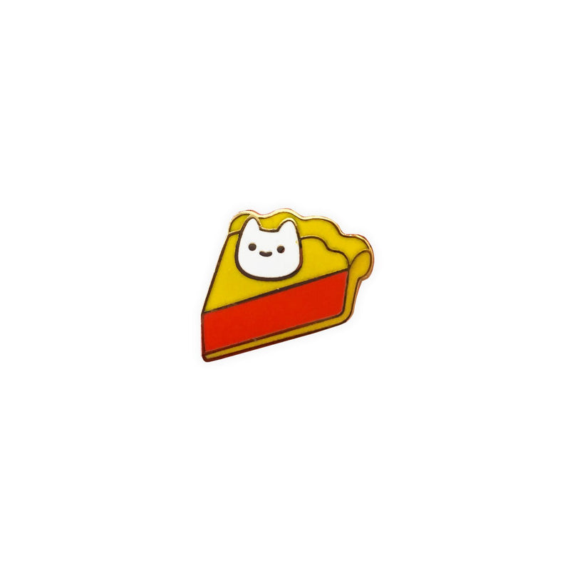 slice of cherry pie with dollop of whipped cream that looks like a cat