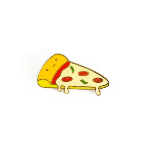kawaii pizza slice smiling cute junk food lapel enamel pin