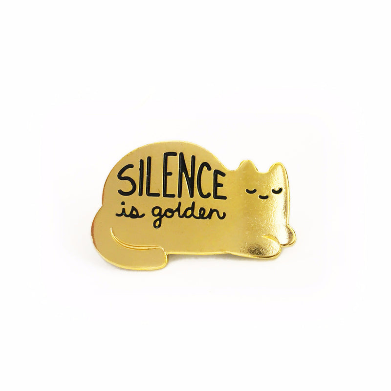 silence is golden gold enamel pin minimal cat kitten sleeping cute