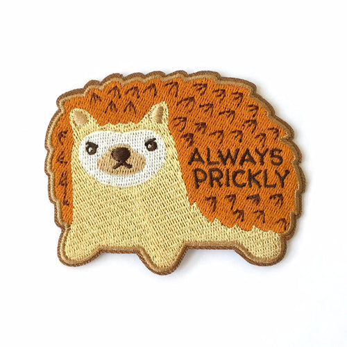 cute grumpy hedgehog embroidered patch with text always prickly