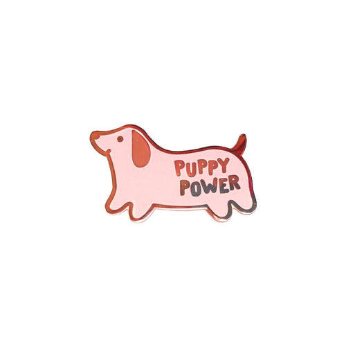 cute pink dachshund dog lapel pin with puppy power text