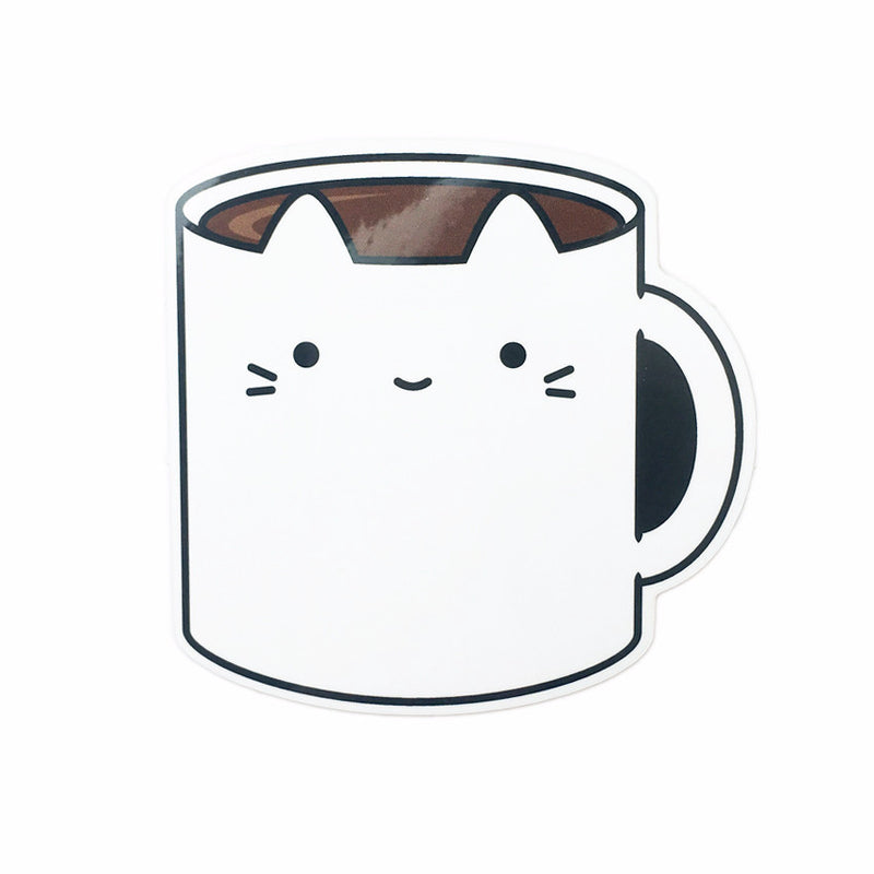 coffee mug cat cute kawaii decal minimalist laptop sticker