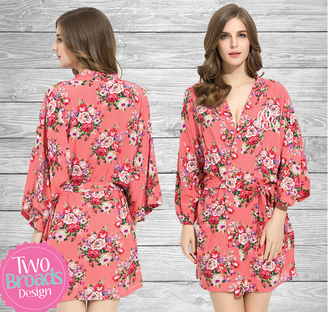 Coral Cotton Floral Robe