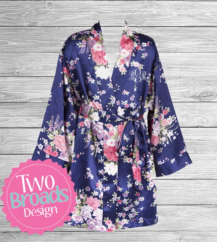 Childrens / Kids Satin Robe Navy Floral