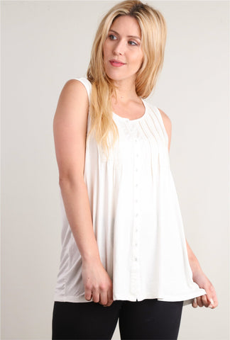 Cream Button Sleeveless Top - EmmaClaireFashions