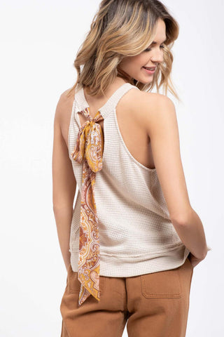 Knit Top With Paisley Back-Tie - EmmaClaireFashions