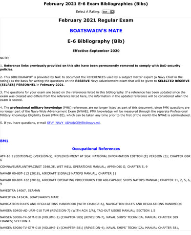 Boatswain's Mate Feb 2021 BIB SELRES