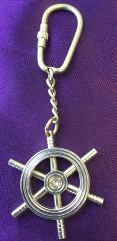 BRASS HELM WHEEL COMPASS KEYCHAIN