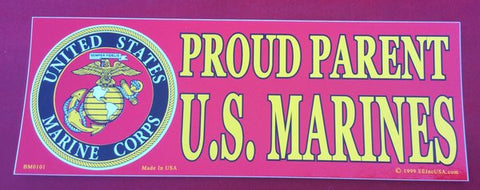 PROUD PARENT U.S MARINES BUMPER STICKER.