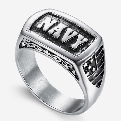 US Navy NAVY Letter Stainless Steel Ring