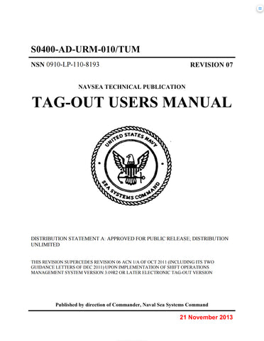 NAVSEA S0400-AD-URM-010 TUM (REVISION-7), TAG-OUT USERS MANUAL