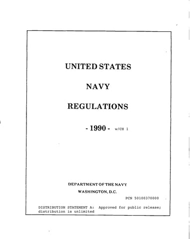 U.S. NAVY REGULATIONS (WITH INTERIM CHANGE-1)