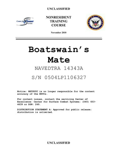NAVEDTRA 14343A Boatswain's Mate Rate Training Manual