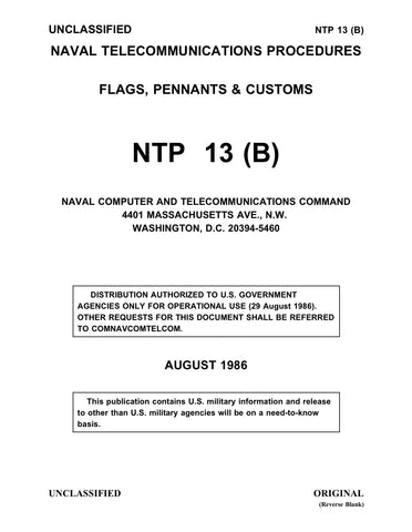 NTP 13 (B) FLAGS, PENNANTS & CUSTOMS AUGUST 1986