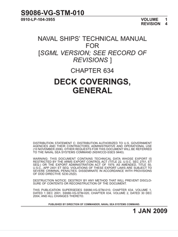 S9086-VG-STM-010 NSTM 634 Vol 1 Rev 4 DECK COVERINGS