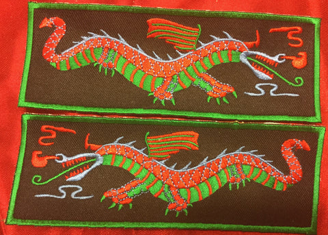 GREEN BODY RED BACK RED & GREEN WING DRAGON LIBERTY CUFF SET