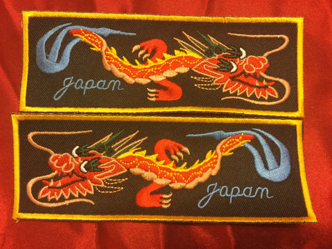 JAPAN DRAGON RED BODY YELLOW BACK BLUE LETTERS LIBERTY CUFF SET