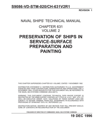 S9086-VD-STM-020 NSTM 631 Vol 2 Rev 1 PRESERVATION OF SHIPS IN SERVICE-SURFACE PREPARATION AND PAINTING