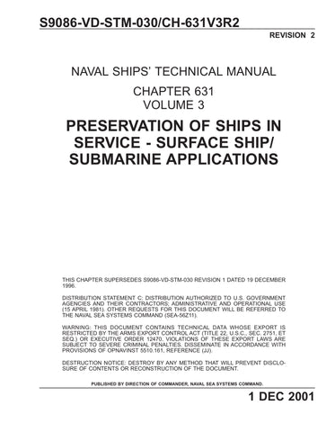 S9086-VD-STM-030 NSTM 631 Vol 3 Rev 2 PRESERVATION OF SHIPS IN SERVICE - SURFACE SHIP/ SUBMARINE APPLICATIONS