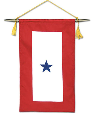 BLUE STAR SERVICE BANNER WITH CROSSBAR AND GOLD CORD AND TASSELS- NYL-GLO- 8 IN. X 15 IN