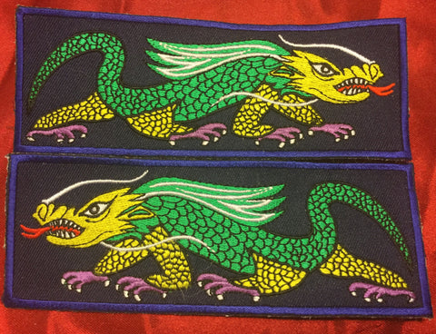 GREEN YELLOW AND PURPLE FOOT DRAGON LIBERTY CUFF SET.