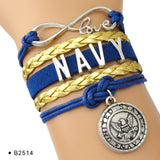 United States Military Branch Charm Leather Bracelets