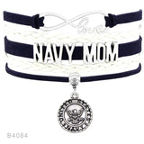 Military Family Charm Leather Bracelets