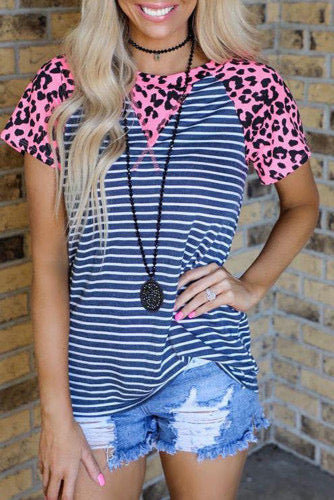 Striped Top with Leopard Detail