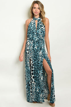 Leopard Blue Maxi Dress