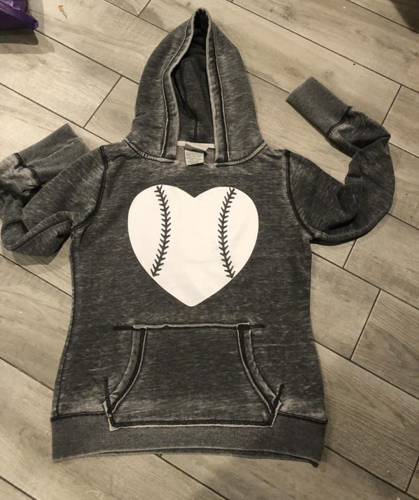 Baseball hoodies front with heart