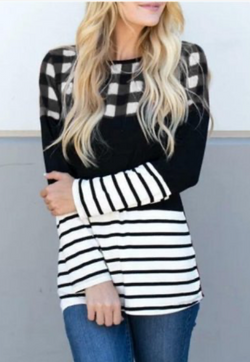 Plaid Long Sleeve Striped Top