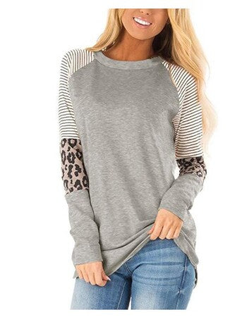 Striped Leopard Sleeve Patchwork Top