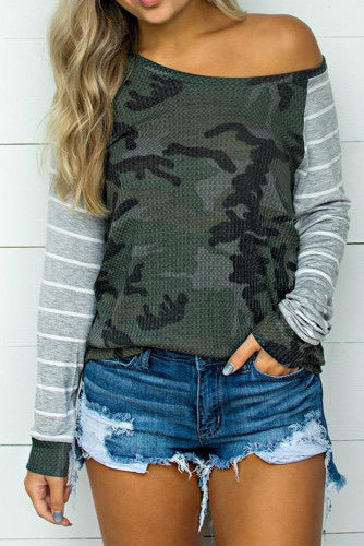 Waffle camo stripped top