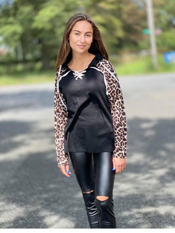 Leopard lace up top