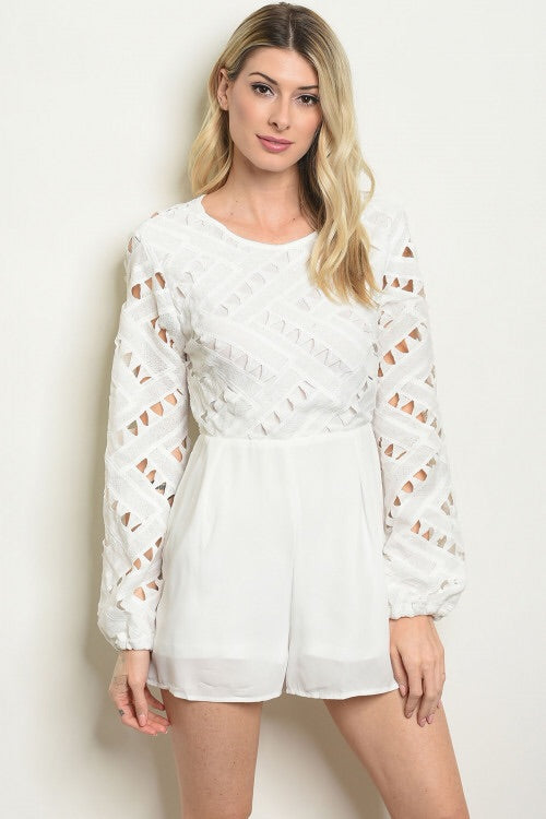White romper long crochet sleeve