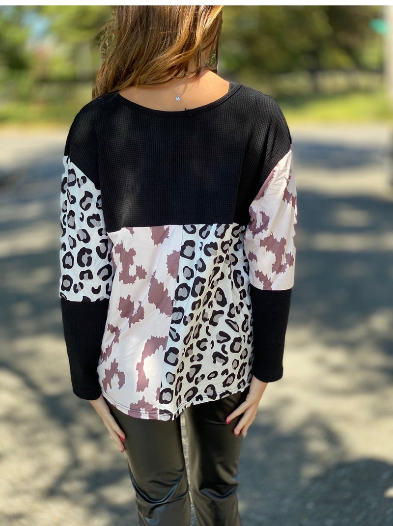 Black leopard zebra top