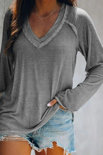 Solid color V neck long sleeve top