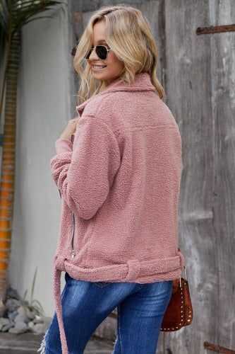 Pink Pocketed Sherpa Jacket