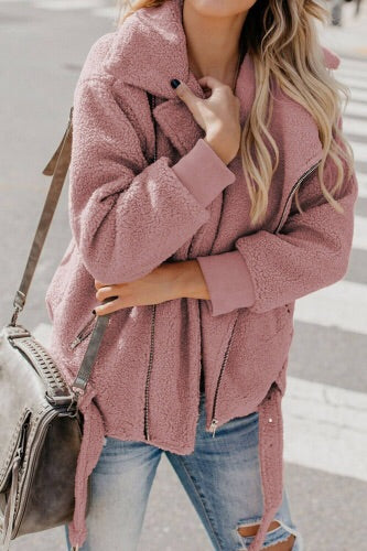 Pink fluffy bear Moto coat