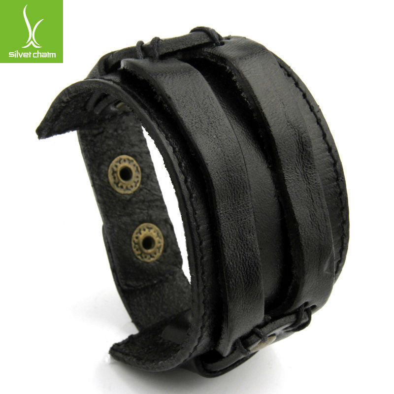 Leather Cuff Double Wide Bracelet