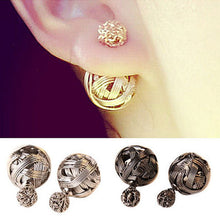 Double Sides  Gold Plated Ball Studs Earrings