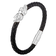 Black Genuine Leather Skeleton Skull Charm Bracelet