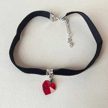 Gothic Velvet Heart Crystal Choker Handmade Necklace