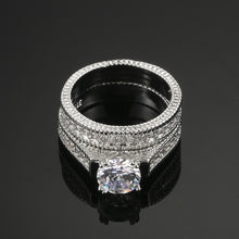 White Gold Plated Luxury 2 Rounds Wedding Ring