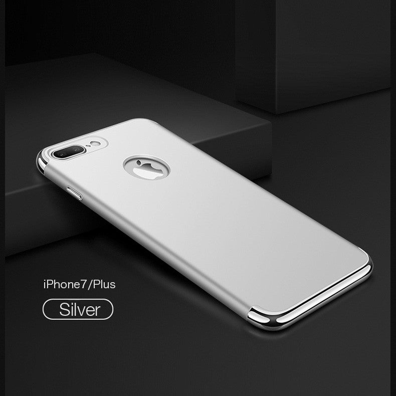 Luxury 3-in-1 Frosted Shockproof Plating Metal Texture Skin Protector Phone Case for iPhone 7 Plus
