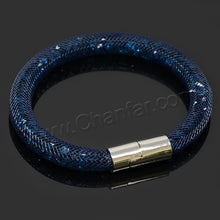 Crystal Mesh Bracelets Crystal Stones Filled Magnetic Clasp Charm For Women