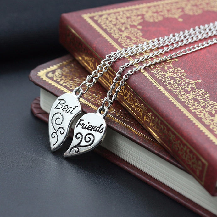 2PC Mother Daughter Silver Heart Love Necklaces & Pendants