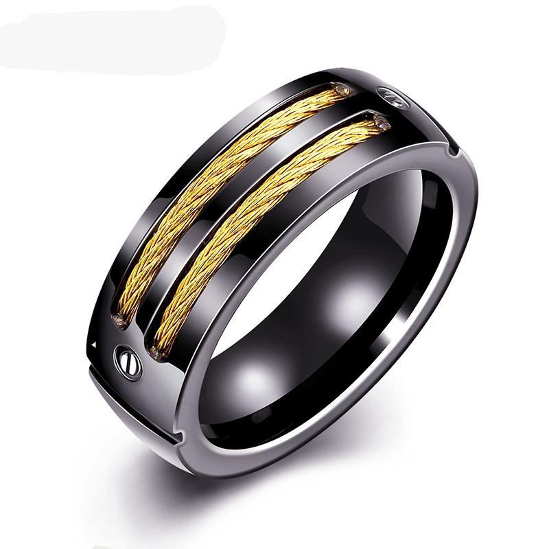 Titanium Steel Black Gold Finger Ring Men Brand